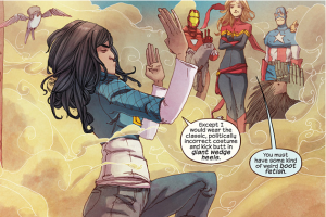 Kamala Khan displaying her butt-kicking prowess.