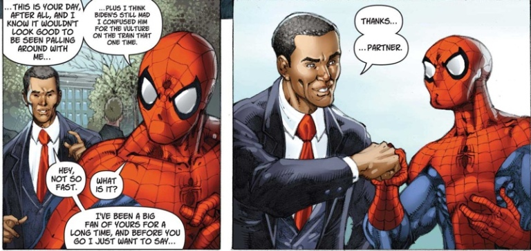 """Then Spidey thanked him for repealing the Super Hero Registration Act."""